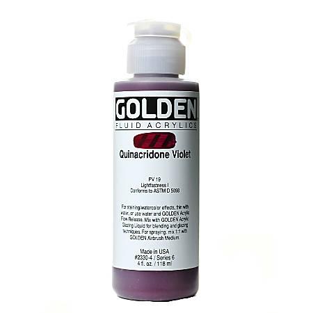 Golden Fluid Acrylic Paint, 4 Oz, Quinacridone Violet