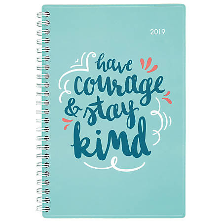 "Cambridge® Pep Talk Weekly/Monthly Planner, 4 7/8"" x 8"", Teal, January To December 2019"