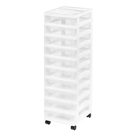 "IRIS Rolling Plastic Storage Cart, 10 Drawers, 42-1/4""H x 12-1/16""W x 14-1/4""D, White"