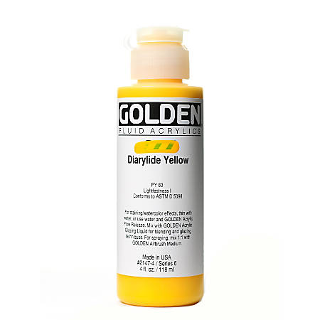 Golden Fluid Acrylic Paint, 4 Oz, Diarylide Yellow