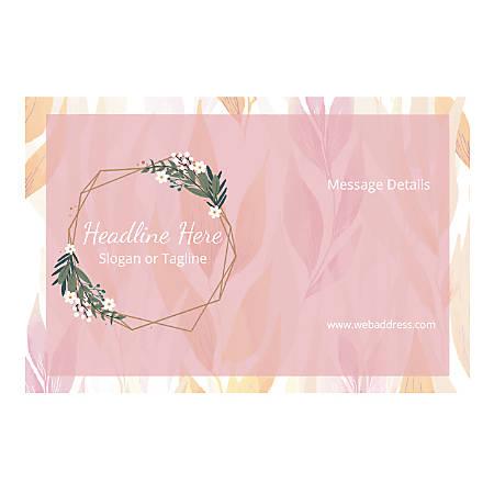 Custom Poster, Horizontal, Pink Leaves And Garland