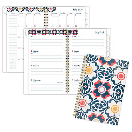 "AT-A-GLANCE® Fiona Academic Weekly/Monthly Planner, 4 7/8"" x 8"", 30% Recycled, Blue/Orange/Red/Yellow, July 2018 to June 2019"