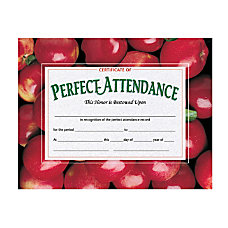 Hayes Publishing Perfect Attendance Certificates Apples