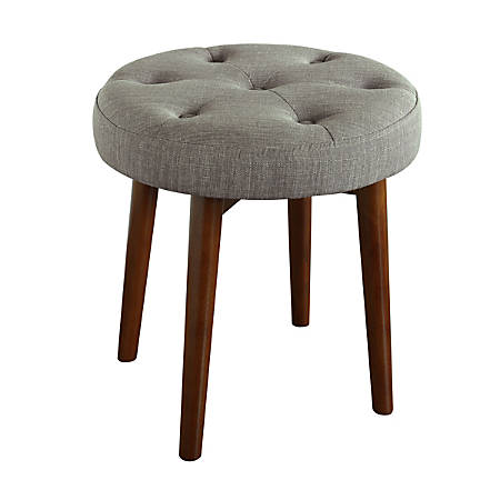 Elle Décor Penelope Round Tufted Stool, Storm Gray/Brown