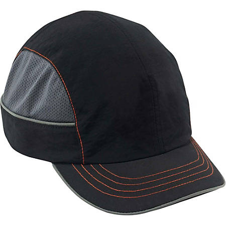 Ergodyne Short-brim Bump Cap - Recommended for: Aircraft, Manufacturing, Maintenance, Warehouse - Short Size - Head Protection - ABS Plastic Shell, Nylon Cap - Black - 1 Each