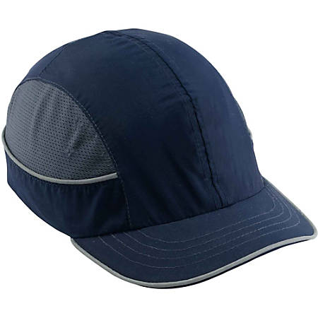 Ergodyne Short-brim Bump Cap - Recommended for: Aircraft, Manufacturing, Maintenance, Warehouse - Short Size - Head Protection - ABS Plastic Shell, Nylon Cap - Navy Blue - 1 Each