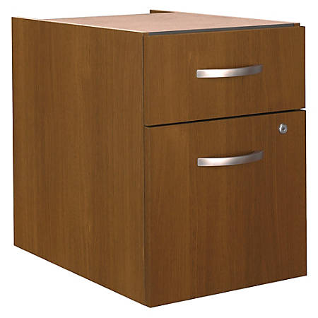 Bush Business Furniture Components 2 Drawer 3/4 Pedestal, Warm Oak, Standard Delivery