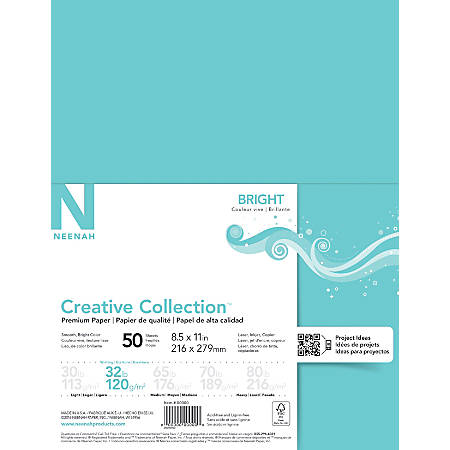 "Neenah® Creative Collection™ Specialty Paper, Letter Size (8 1/2"" x 11""), 32 Lb, FSC® Certified, Sea Glass, Ream Of 50 Sheets"