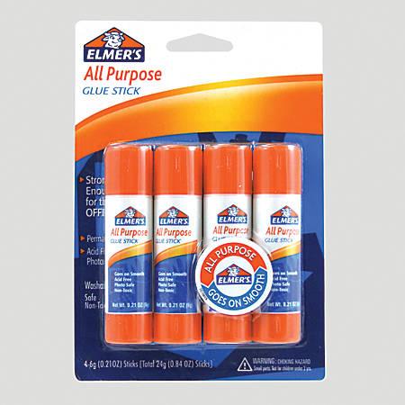 Elmer's® Office Strength Glue Sticks, All Purpose, 0.21 Oz., Clear, Pack Of 4