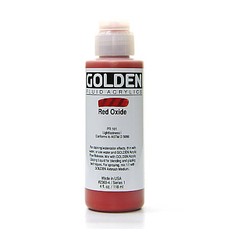 Golden Fluid Acrylic Paint, 4 Oz, Red Oxide