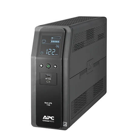 APC® Back-UPS Pro 10-Outlet Tower Uninterruptible Power Supply, 1,100VA/600 Watts, BN1100M2