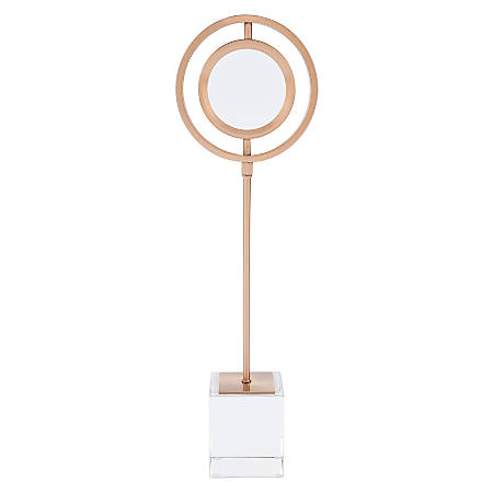 "Zuo Modern Magnifier With Stand, 18 15/16""H x 5 3/4""W x 3 1/8""D, Antique Brass"