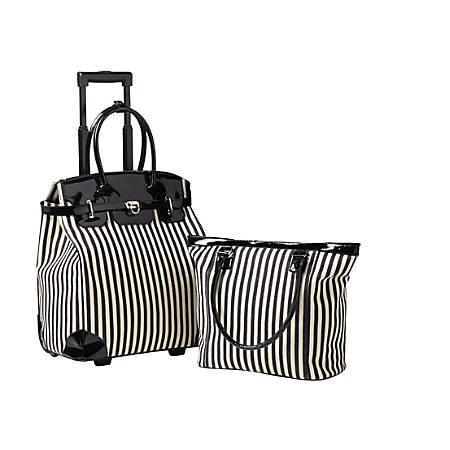 Orbit Ava Rolling 2-Piece Luggage Set, Black/White