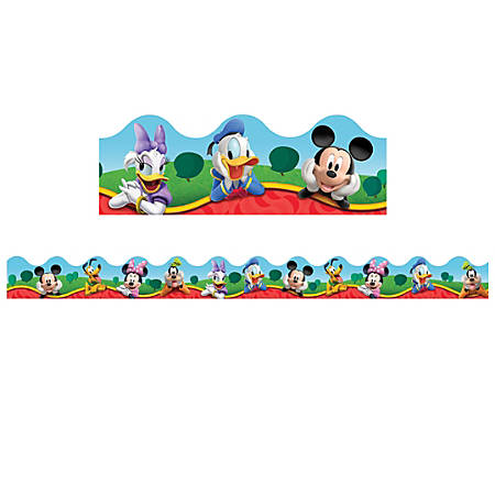 """Eureka Mickey Mouse Clubhouse® Characters Deco Trim®, 2 1/4"""" x 37"""", Pack Of 12 Strips"""