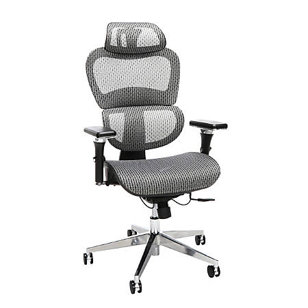 OFM Core Collection Model 540 Ergo Mesh High-Back Chair With Headrest, Gray, Black/Chrome