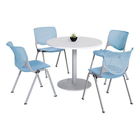 KFI Studios KOOL Round Pedestal Table With 4 Stacking Chairs, White/Sky Blue