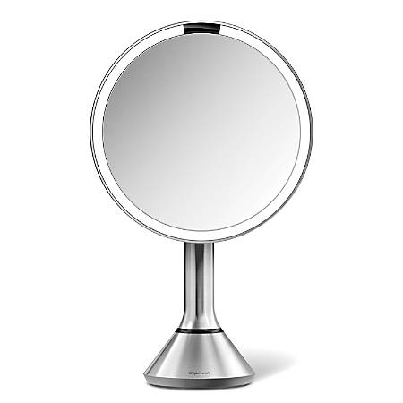 "simplehuman Sensor 5X Magnification Round Make-Up Mirror, 8"", Stainless Steel"