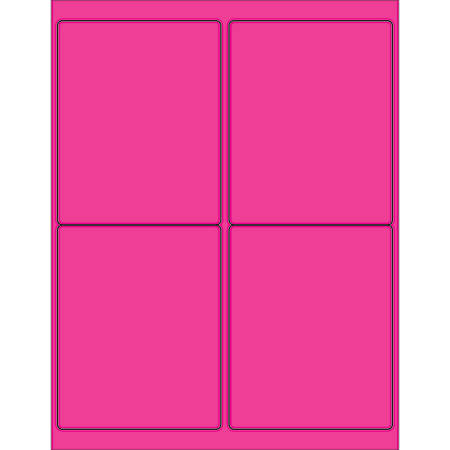 "Office Depot® Brand Labels, LL181PK, Rectangle, 4"" x 5"", Fluorescent Pink, Case Of 400"
