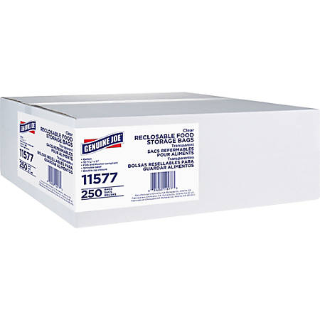 Genuine Joe Food Storage Bags - 1 gal - 1.75 mil (44 Micron) Thickness - Clear - 250/Box - Food, Beef, Vegetables, Seafood, Poultry