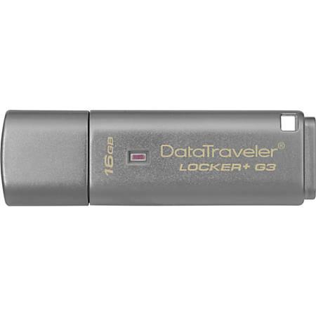 Kingston 16GB DataTraveler Locker+ G3 USB 3.0 Flash Drive - 16 GB - USB 3.0 - 135 MB/s Read Speed - 20 MB/s Write Speed - Silver - 5 Year Warranty
