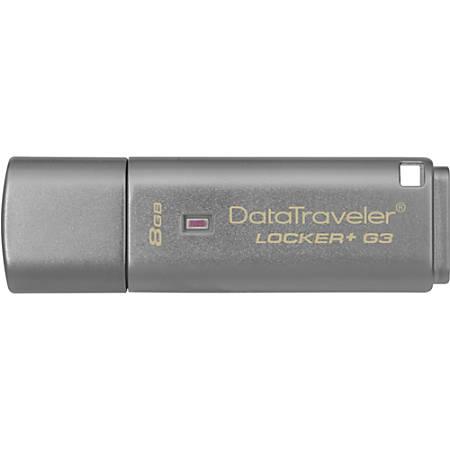 Kingston 8GB DataTraveler Locker+ G3 USB 3.0 Flash Drive - 8 GB - USB 3.0 - 80 MB/s Read Speed - 10 MB/s Write Speed - Silver