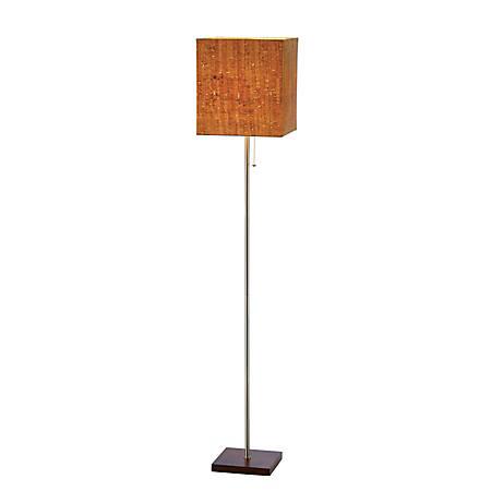 "Adesso® Sedona Floor Lamp, 56""H, Natural Cork Shade/Walnut Base"