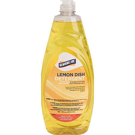 Genuine Joe Pot and Pan Detergent - Concentrate Liquid - 0.30 gal (38 fl oz) - Lemon Scent - 1 Each - Yellow