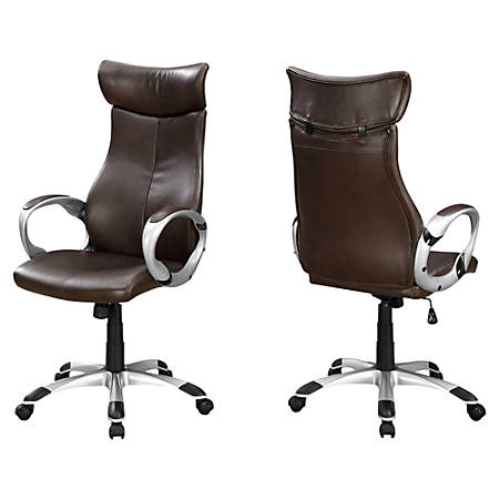 Monarch Specialties High-Back Office Chair, Brown/Silver
