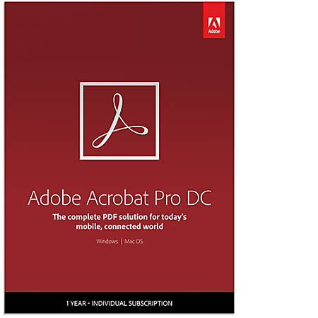 Adobe Acrobat Professional DC, 1-Year Subscription, Download Version