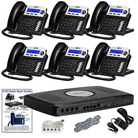 XBLUE® X16 Phone System Bundle With (6) X16 Telephones, Charcoal