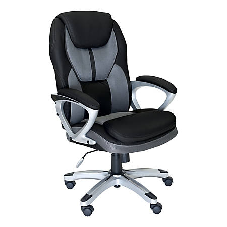 Serta Works Faux Leather/Mesh High-Back Office Chair, Opportunity Gray/Silver