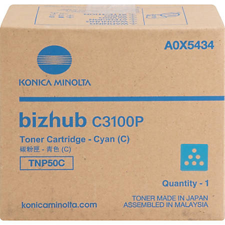 Konica Minolta TNP50C Toner Cartridge - Cyan - Laser - 6000 Pages - 1 Each