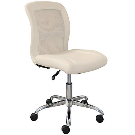Serta Essentials Faux Leather Mid-Back Computer Chair, Inspiration Cream/Chrome