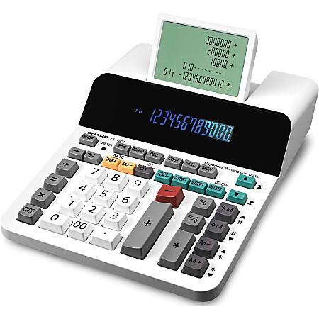 Sharp® EL-1901 Digital Printing Calculator, White