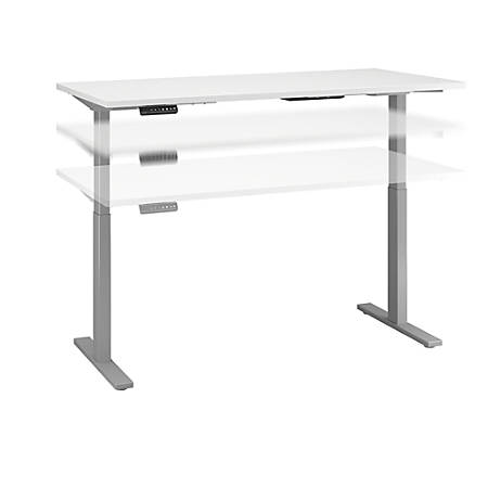 "Bush Business Furniture Move 60 Series 60""W x 24""D Height Adjustable Standing Desk, White/Cool Gray Metallic, Standard Delivery"