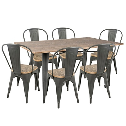 Lumisource Oregon Industrial Farmhouse Dining Table With 6 Dining Chairs,  Gray/Brown Item # 9761623