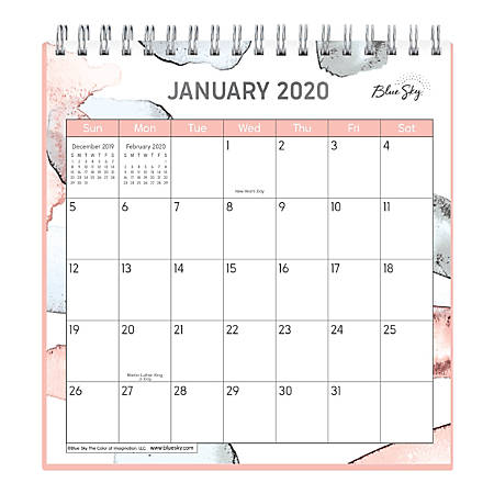 """Blue Sky™ Wirebound Desk Calendar With Stand, 6"""" x 6"""", Olifant, January to December 2020"""