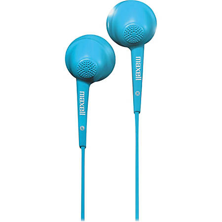 Maxell Jelleez Earset - Stereo - Blue - Wired - 20 Hz - 23 kHz - Nickel Plated - Earbud - Binaural - Outer-ear - 3 ft Cable