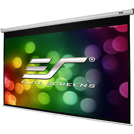 Elite Screens Manual B - 100-INCH 16:9, Manual Pull Down Projector Screen  4K / 8K Ultra HDR 3D Ready with Slow Retract Mechanism, 2-YEAR WARRANTY,