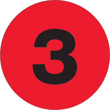 """Tape Logic® Permanent Inventory Labels, DL1343, Number 3, Round, 3"""", Fluorescent Red, Roll Of 500"""