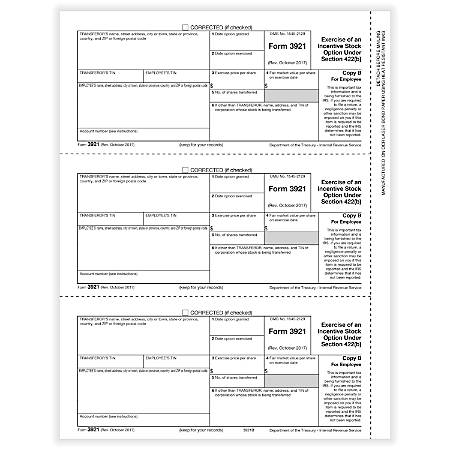 """ComplyRight™ 3921 Laser Tax Forms, Employee Copy B, 8-1/2"""" x 11"""", Pack Of 50 Forms"""