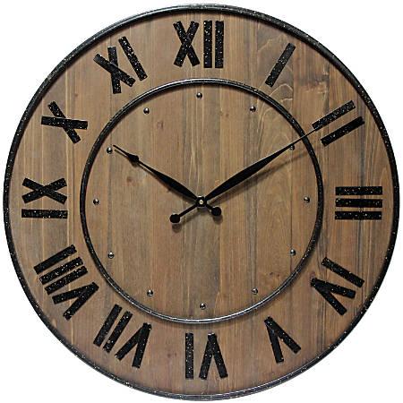 "Infinity Instruments Wine Barrel 24"" Round Wall Clock, Brown"