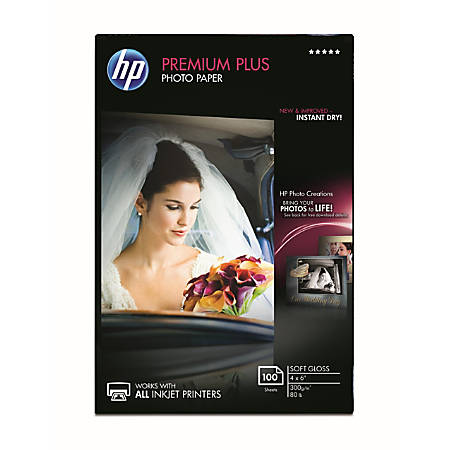 """HP Premium Plus Soft-Gloss Photo Paper, 4"""" x 6"""", Pack Of 100 Sheets"""