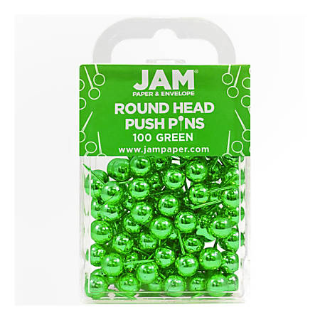 """JAM Paper® Colorful Push Pins, 1/2"""", Green, Pack Of 100 Push Pins"""