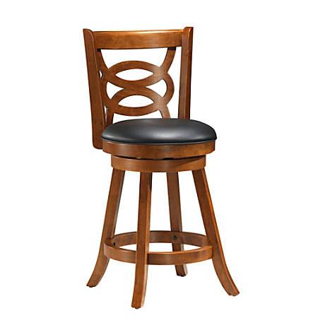 """Monarch Specialties Wood Bar Stools, 39""""H, Black/Oak, Set Of 2 Stools"""