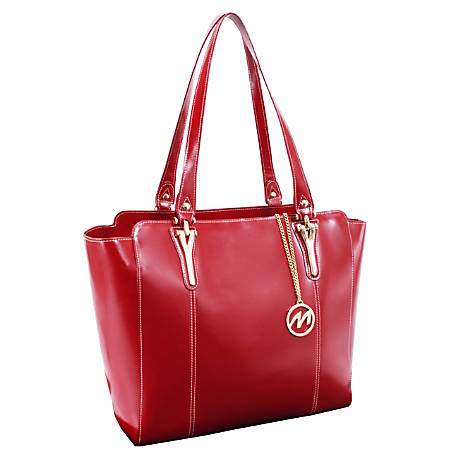 """McKleinUSA® M Series ALICIA Leather Shoulder Tote, 14""""H x 6""""W x 13""""D, Red"""