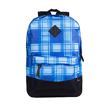 "Volkano Daily Grind Backpack With 18.1"" Laptop Pocket, Blue Plaid"