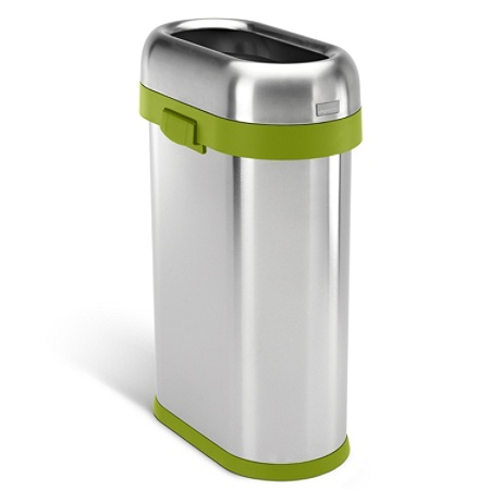 Simplehuman Slim Stainless Steel Open Top Commercial Trash Can 13 Gallons Green Trim Item 9768279
