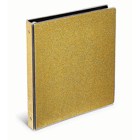 "Office Depot® Brand Fashion Binder, 1"" Rings, Gold Glitter"