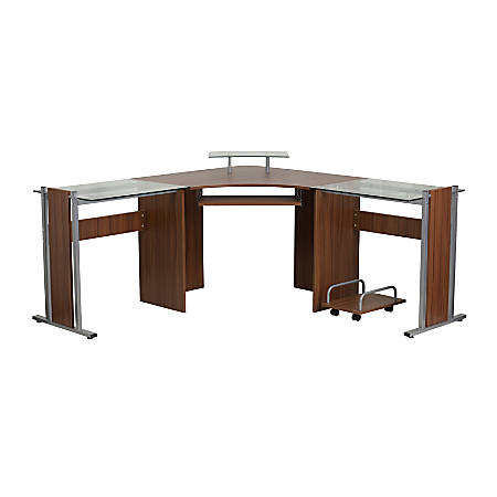 Flash Furniture Laminate Corner Desk With CPU Cart, Teak